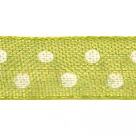 Ruban tissu 10m organdi vert anis pois blanc 6mm