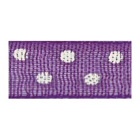 Ruban tissu 10m organdi violet pois blanc 6mm