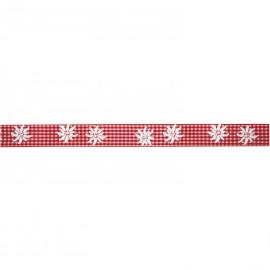 Ruban tissu le ml coton vichy rouge edlweiss 25 mm