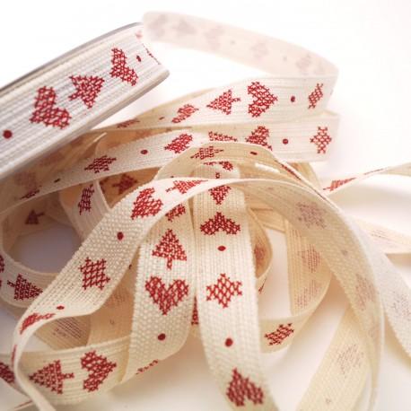 Ruban tissu le ml coton écru motifs rouge voyage d'hiver 15 mm