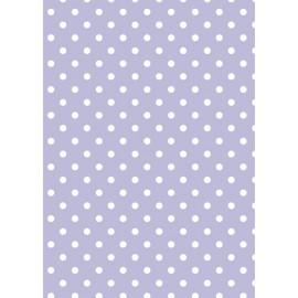 Tissu de coton tante ema parme à pois blanc 50x65cm
