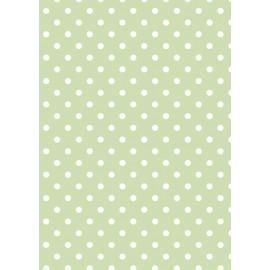 Tissu de coton tante ema vert tendre à pois blanc 50x65cm