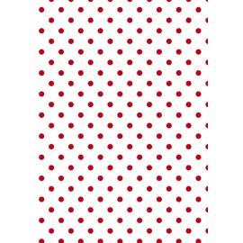 Tissu de coton tante ema blanc à pois rouge 50x65cm