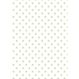 Tissu de coton tante ema blanc à pois vert tendre 50x65cm