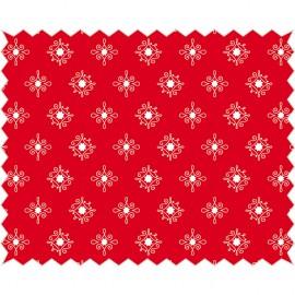 Tissu de coton tante ema rouge à motifs blanc 50x65cm