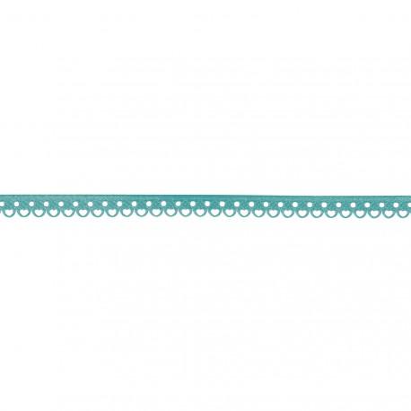 Ruban tissu dentelé bleu lagon 10mm