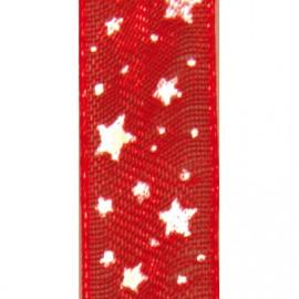 Ruban tissu 10m organdi rouge étoiles blanches 10mm