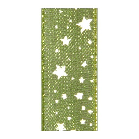 Ruban tissu 10m organdi vert étoiles blanches 10mm