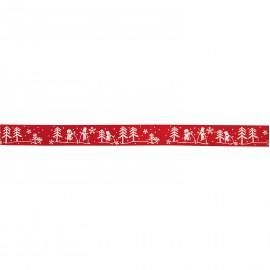 Ruban tissu le ml paysage hivernal rouge et blanc 22mm