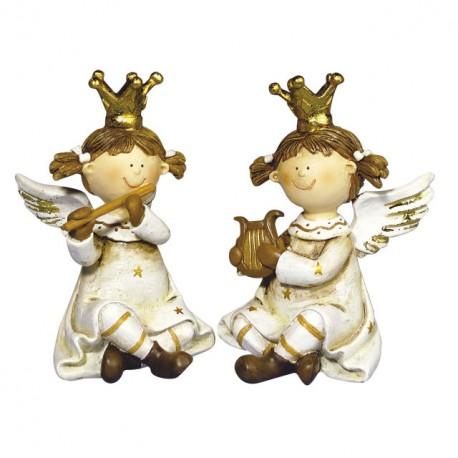 Objet de décoration ange de noël musicien 10.5x6cm