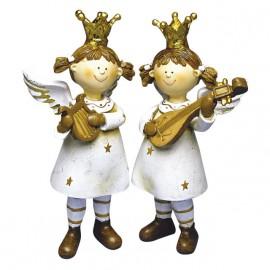 Objet de décoration ange de noël musicien 15x9cm