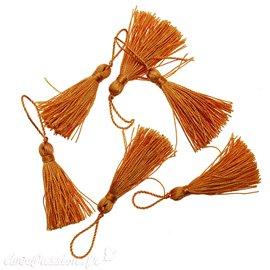 Glands pompons passementerie loisirs créatifs orange 5 cm