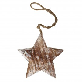 Déco à suspendre étoile en bois shabby chic