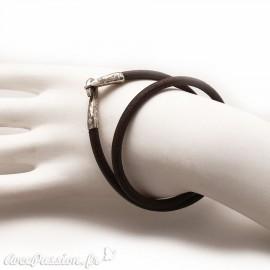 Bracelet double tour cuir marron