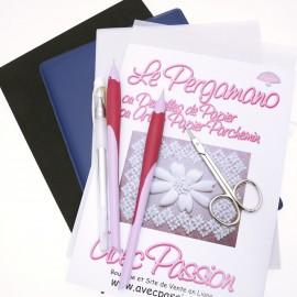 Pergamano kit débutant embossage 1 outil + ciselage dents ciseaux