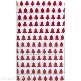 Ruban tissu sapin blanc et rouge 1 cm x 5 m