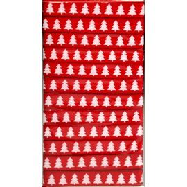 Ruban tissu sapin rouge et blanc 1 cm x 5 m