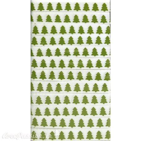 Ruban tissu sapin blanc et vert 1 cm x 5 m