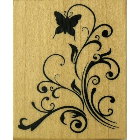 Tampon bois arabesque et papillon 4 x 5 cm