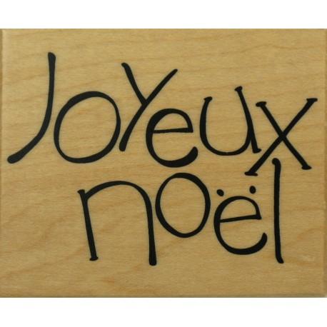 Tampon bois joyeux Noel 6 x 4 cm