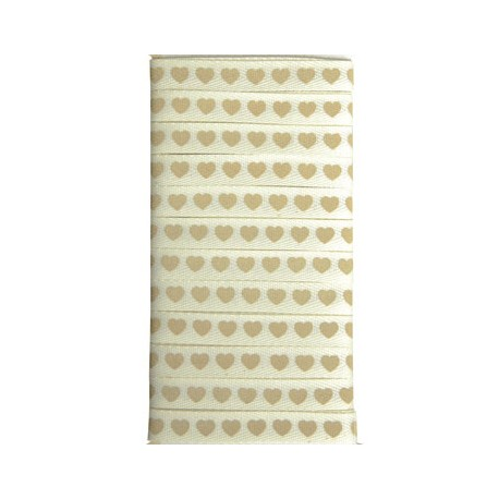 Ruban tissu love ivoire et taupe 1cmx5m