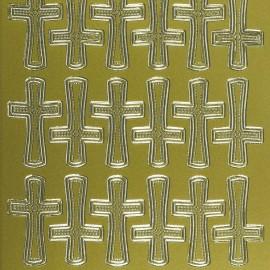 Sticker peel off adhésif or croix de communion