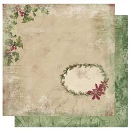 papier scrapbooking lisse feuilles de houx beige et verso vert