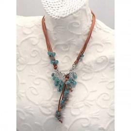 Sautoir turquoise lien cuir marron Périgrine verre de murano réglable