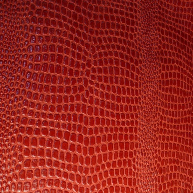 Cartonnage papier imitation crocodile rouge motif verni for Peinture crocodile