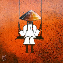 Carte postale Le Bris Morvan vietnamienne balançoire