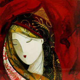 Carte postale Catherine Rebeyre visage rouge II
