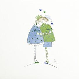 Aquarelle Brigitte Misériaux choupinets couple bisous vert bleu