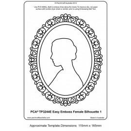 Template PCA gaufrage silhouette de femme en médaillon
