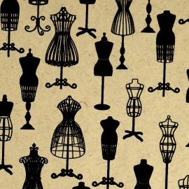 Papier fantaisie pompadour ivoire