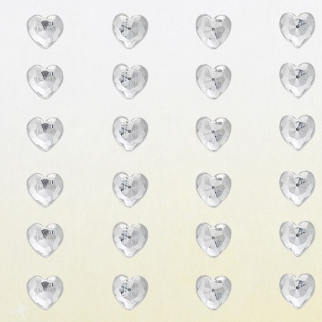 Strass autocollant coeur cristal 6mm 60 strass