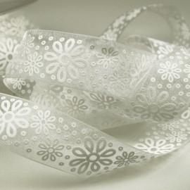Ruban organza fleur blanc 25mm
