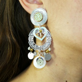 Boucles d'oreilles clips fantaisie Chorange sarao blanc