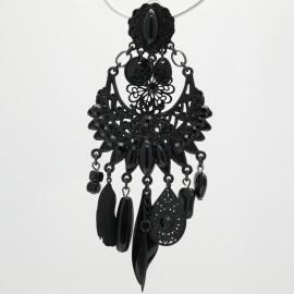 Boucles d'oreilles Clairébelle clips noir pierres noires