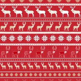 Feuilles décopatch motifs scandinaves rouge taupe et blanc