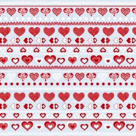 Feuilles décopatch cœurs rouge blanc et gris