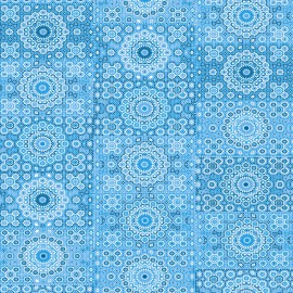 Feuilles décopatch motifs de semis tons de bleu