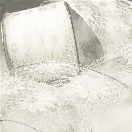 Ruban dentelle fleur blanc 70mm