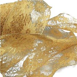 Ruban dentelle fleur doré 70mm