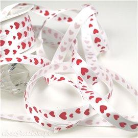 Ruban satin coeur rouge 10mm