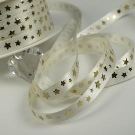 Ruban satin ivoire étoile or ivoire 10mm