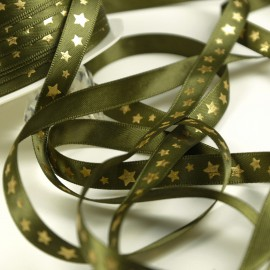Ruban satin vert étoile or vert 10mm