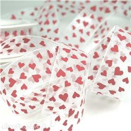 Ruban organza coeur rouge 25mm