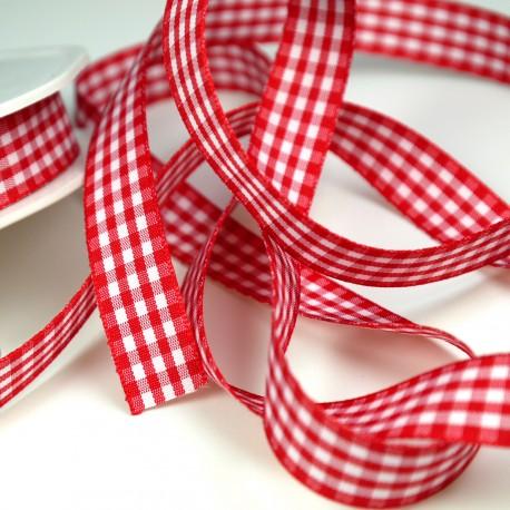 Ruban tissu carreaux et blanc rouge 15mm