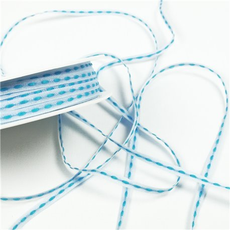 Ruban tissu trait turquoise sur blanc 4mm dashy woven