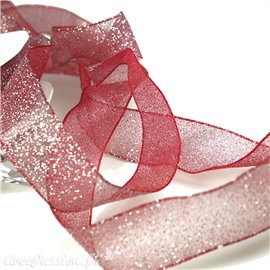 Ruban organza paillettes rouge 25mm